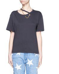 Stella McCartney | 'falabella' Chain Cutout Neck Organic Cotton T-shirt | Lyst