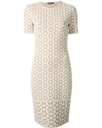 Alexander McQueen Embossed Cut Out Floral Jacquard Dress - Lyst