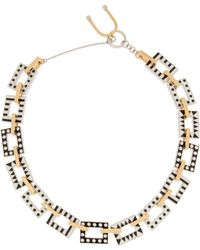 Uribe - + Nico Enameled Rhodium-Plated And Gold-Plated Necklace - Lyst