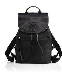 Tory Burch Nylon Flap Backpack black - Lyst