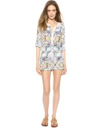 Twelfth Street Cynthia Vincent - Lace Inset Romper Indian Paisley - Lyst