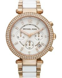 Michael Kors Women'S Chronograph Parker White Acetate And Rose Gold-Tone Stainless Steel Bracelet Watch 39Mm Mk5774 - Lyst