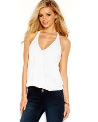 Guess Beaded Wrap-Front Halter Top - Lyst