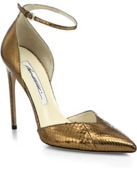 Brian Atwood Lisette Ayers Metallic Snakeskin Pumps - Lyst