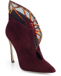 Sergio Rossi Atalia Embellished Suede Booties - Lyst