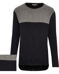 River Island Navy Block Colour Long Sleeve Jumper - Lyst