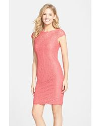 Adrianna Papell Lace Cocktail Dress - Lyst