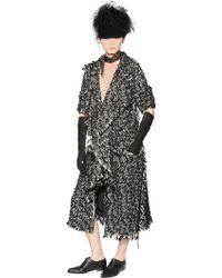 Lanvin Wool & Cotton Blend Tweed Coat - Lyst