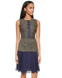 Marchesa Voyage - Day Lace Panel Dress - Khaki/Navy - Lyst