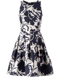 Oscar de la Renta Flower Print Flared Dress - Lyst