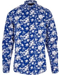 River Island Blue Vito Floral Print Long Sleeve Shirt - Lyst