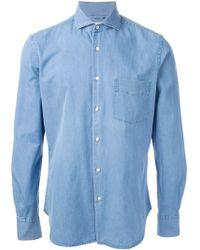 Aspesi Blue Denim Shirt - Lyst