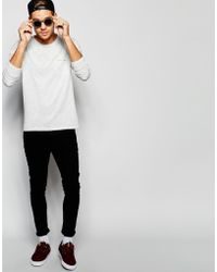 SELECTED Elected Homme Long Sleeve Top With Raw Edge - White