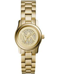 Michael Kors Petite Golden Stainless Steel Runway Threehand Glitz Watch - Lyst