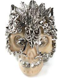 Alexander McQueen Silver Skull Ring - Lyst
