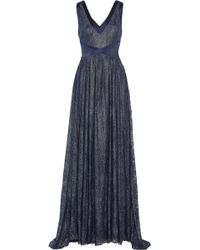 Badgley Mischka Metallic Lace Gown - Lyst