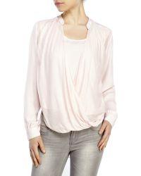 Catherine Malandrino Pink Sheer Hi-Low Blouse pink - Lyst