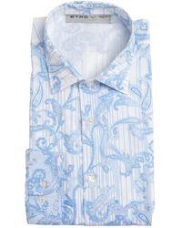 Etro Light Blue Paisley Cotton Button Front Shirt - Lyst