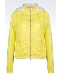 Armani Jeans Hooded Blouson In Shiny Nylon - Lyst