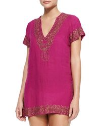 Florabella - Paulo Beaded-trim Linen Short Tunic Coverup - Lyst