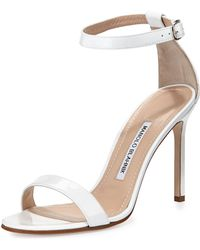 Manolo Blahnik Chaos Patent Leather Sandal - Lyst