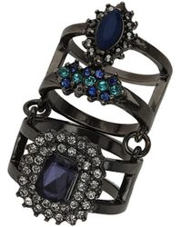 Topshop Stone Double Ring - Lyst