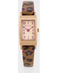 Paul Smith Women's Leopard 'little Brick' Watch - Pink