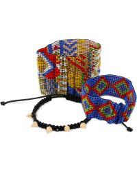 Steve Madden - Gold-Tone Patterned Bead And Macrame Spike Bracelet Set - Lyst