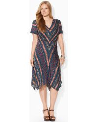 Lauren by Ralph Lauren Patterned Jersey Dress - Lyst