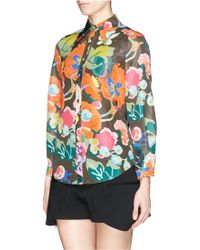Chictopia - Floral Print Point Collar Silk-cotton Shirt - Lyst