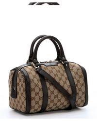 Gucci Beige Gg Canvas Convertible Boston Bag - Lyst