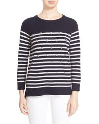 Kate Spade | Embellished Stripe Merino Wool Sweater | Lyst