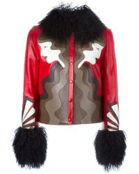 Holly Fulton Shearling Trim Leather Jacket - Red