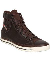 Diesel Leather High Top Sneakers - Lyst