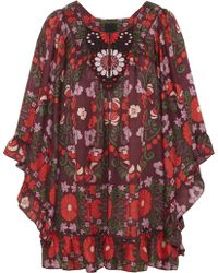 Anna Sui Morning Glory Cotton and Silk-blend Mini Dress - Lyst