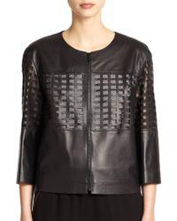 Lafayette 148 New York Leather Cutout-Detail Jacket - Lyst