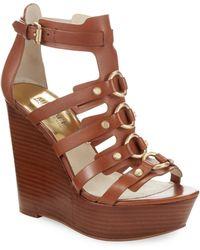 MICHAEL Michael Kors Nadine Platform Leather Wedge Sandals - Lyst