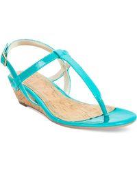 Rampage Selery Demi Wedge Thong Sandals blue - Lyst