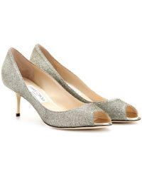 Jimmy Choo Isabel Glittered-Canvas Peep-Toe Pumps - Lyst