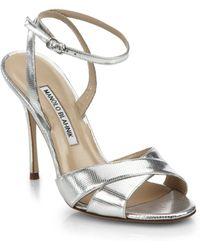 Manolo Blahnik Orlana Metallic Leather Ankle-Strap Sandals - Lyst