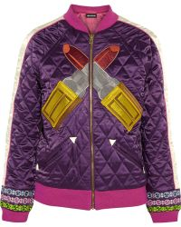 House Of Holland Embroidered Quilted Satin Jacket - Lyst