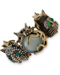 Betsey Johnson Gold-tone Cat Stretch Bracelet - Lyst