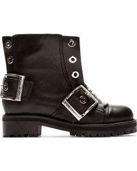 Alexander McQueen Black Leather New 39s Wolf Biker Boots - Lyst