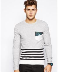 Izzue - Sweater with Stripe Panel - Lyst