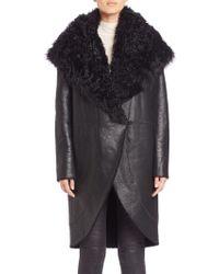 Elie Tahari | Aubrey Fur-collar Leather Coat | Lyst