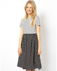 Asos Midi Skater Dress in Spot Print with Button Off Waist - Lyst