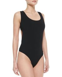 Michael Kors Back-cutout Thong Tank Bodysuit - Lyst