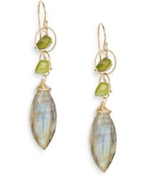 Eva Hanusova - Multigem Botanical Labradorite & Green Garnet Drop Earrings/goldtone - Lyst