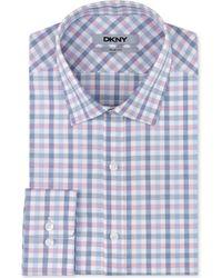 DKNY Slim-fit Cameo Blue Check Dress Shirt - Lyst