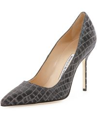 Manolo Blahnik Bb Metallic Crocprint 105mm Pump - Lyst